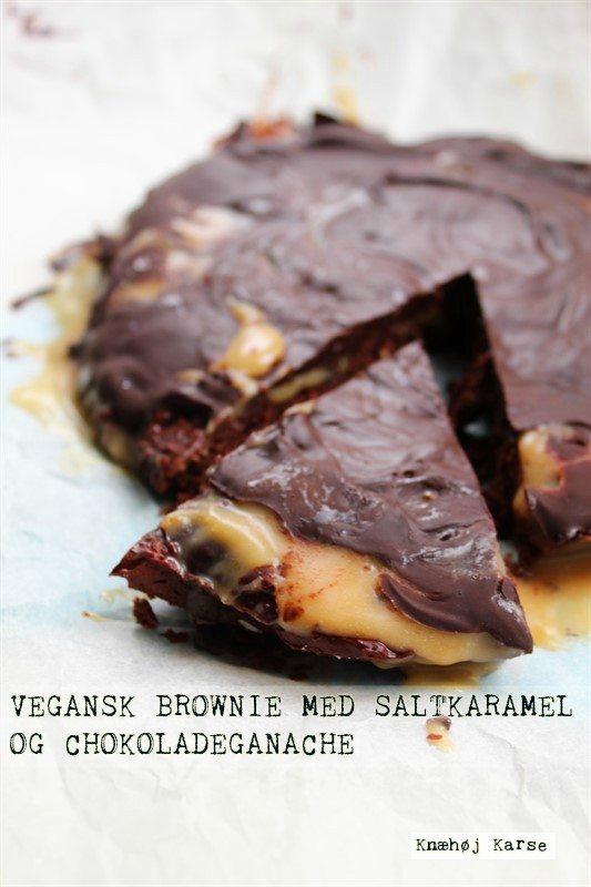 Vegansk brownie med saltkaramel og chokoladeganache
