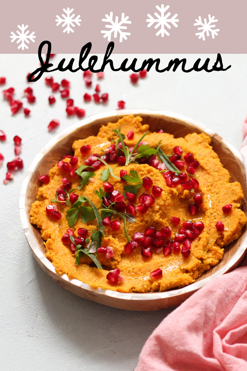 Julehummus med gulerødder og granatæble