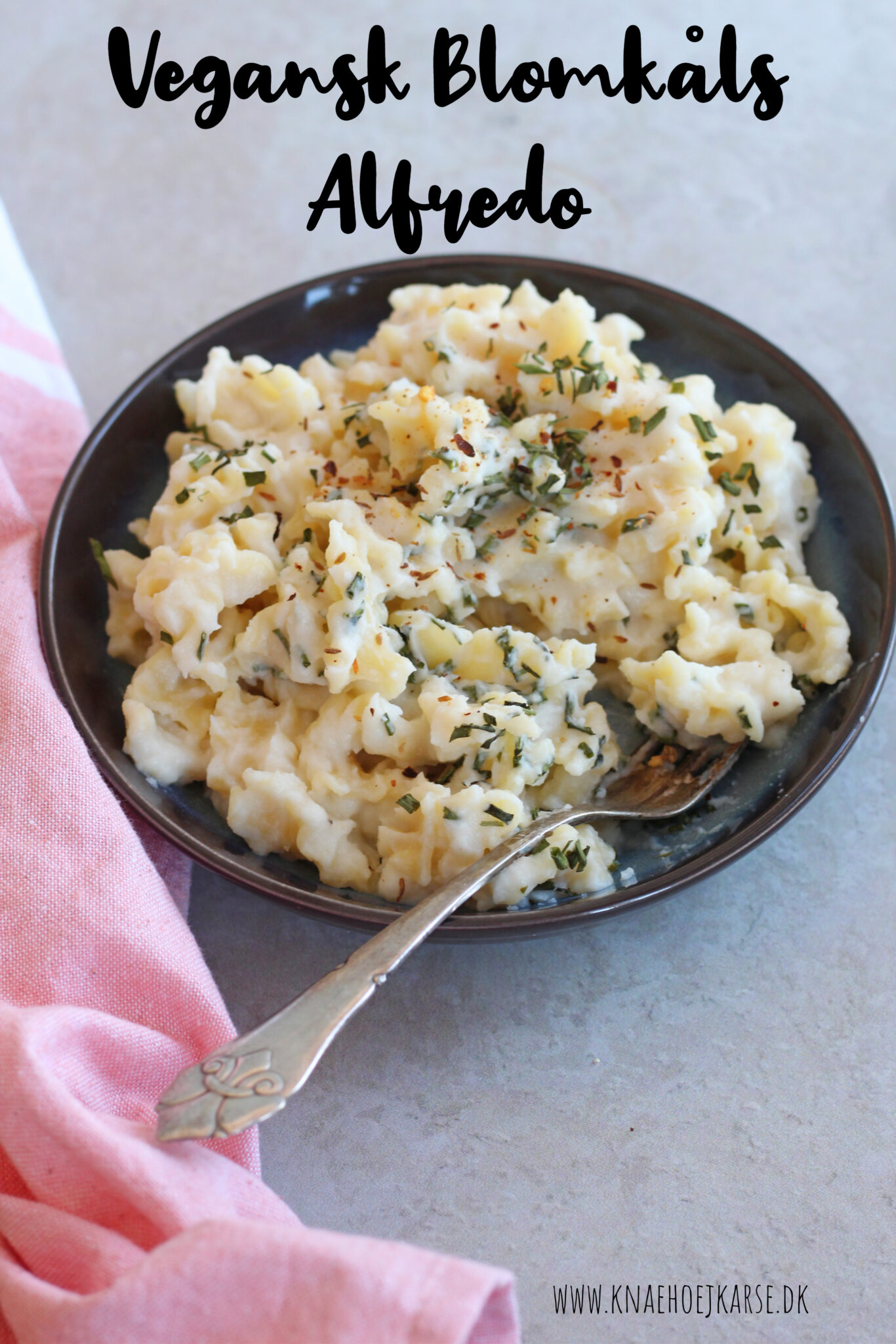 Vegansk blomkålssauce til pasta alfredo