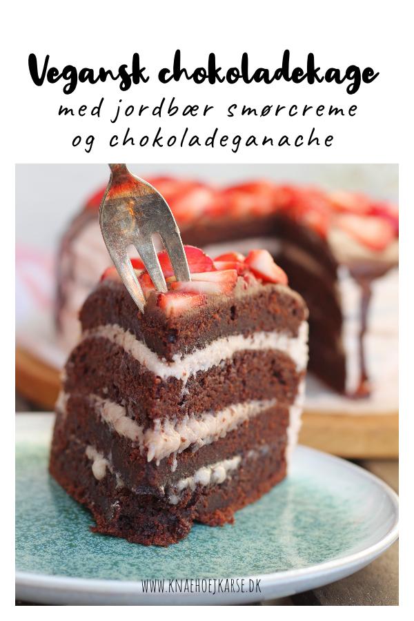vegansk chokoladekage med jordbær smørcreme og chokoladeganache
